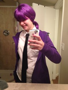 The beginning of my Vincent/ purple guy cosplay ( I also have a badge but it's behind my phone XD) by Fastbug78