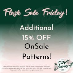 ⚡️Flash Sale Friday!⚡️ Additional 15% OFF On Sale Patterns. One day only. Restrictions apply. Not valid on previous purchases or Pre Order items. Sale ends tonight at midnight mountain time. One Day Only, Andover Fabrics, Orange Fabric, Cotton Quilting Fabric, Sewing Patterns, Mountain, Friday, How To Apply, Etsy