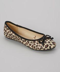 Look what I found on #zulily! Black & Tan Leopard Tie Ballet Flat by LOLA #zulilyfinds