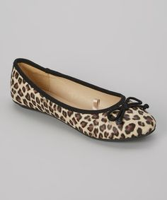 Another great find on #zulily! Black & Tan Leopard Tie Ballet Flat by LOLA #zulilyfinds