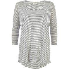Cream stripe linen t-shirt $40