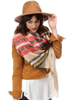 Oversized Plaid Blanket Scarf - Beige/Red, Ivory/Black, Black/Ivory, Red/Green or Gray/Pink Plaid Blanket Scarf, Fall Scarves, Womens Scarves, My Wardrobe, Red Green, Soft Fabrics, Scarf Wrap, Beige, Gray