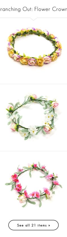 """Branching Out: Flower Crowns"" by polyvore-editorial ❤ liked on Polyvore featuring flowercrowns, accessories, hair accessories, hair, hats, flower crown, flower garland, floral crown, floral garland and white"