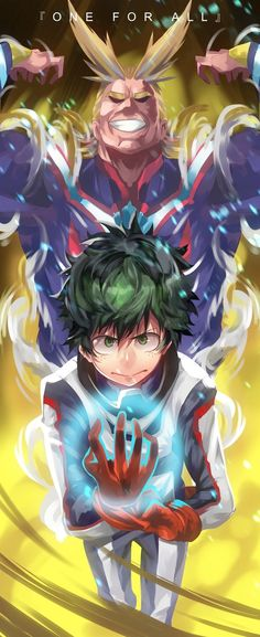 "Boku no Hero Academia, Fanart, ""ONE FOR ALL' Midoriya Izuku with All Might."