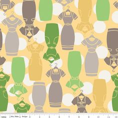 Fabric by the yard  Riley Blake  Millie's Closet by fernfiddlehead (Craft Supplies & Tools, Fabric, fabric by the yard, quilting, sewing, all cotton, Riley Blake, Lori Holt, Millies Closet, Yellow, mad men dresses, Pattern C2841, designed fabric, fabric yardage, green)