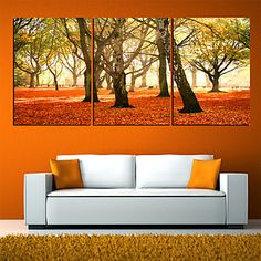 Stretched Canvas Art Botanical Red Leaves Set of 3 – USD $ 59.99