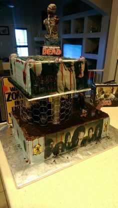 Walking dead cake I made for my 6 year old grandson....well its what he wanted...crazy kid.