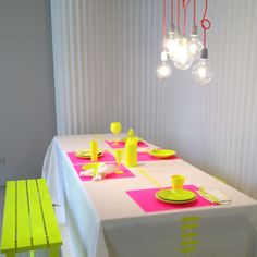 Fluorescent picnic table bench for dinner party