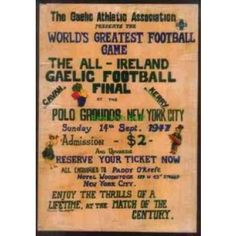 GAA All Ireland Final Cavan V Kerry, New York - Worlds Greatest Game 1947 Print