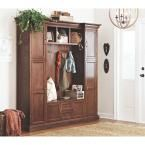 Home Decorators Collection Royce 4-Hook Contemporary Wood All-in-One Mudroom/Hall Tree in Smokey Brown 7474200820 at The Home Depot - Mobile
