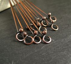 Rustic Copper Headpins with Loop, Oxidized Copper Eyepins, Handmade Jewelry Findings x 10 - CinnamonJewellery Jewelry Tools, Copper Jewelry, Jewelry Making Supplies, Wire Jewelry, Jewelry Crafts, Jewelry Art, Beaded Jewelry, Jewelry Design, Jewelery