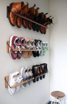 Smart Storage Hacks for Shoe Lovers Smart Storage Hacks fo. Smart Storage Hacks for Shoe Lovers Smart Storage Hacks for Shoe Lovers Smart Storage, Wall Storage, Diy Storage, Boot Storage, Bicycle Storage, Cheap Storage, Creative Storage, Cool Storage Ideas, Diy Rack