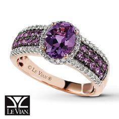 Amethyst Rings | Jared - Le Vian Amethyst Ring 1/4 ct tw Diamonds 14K Strawberry Gold