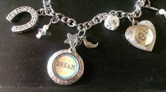 DREAM Locket Fob JOY Charm Bracelet Silver by ArtsyMysticDesigns, $24.99 Silver Bracelets, Charmed, Joy, Jewellery, Fashion, Jewelery, Moda, La Mode, Jewlery
