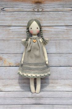 Textile doll, Tilda doll ,Princess Tilda angel, Cute angel, made of natural materials, cotton. The dress is decorated with natural cotton lace. Height of 12.5 inches (31 cm).
