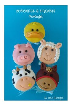 Farm Animal cupcakes by Ana Remigio on cakesdecor.com