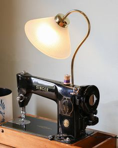 Upcycled Singer Sewing Machine Lamp Industrial Lamp