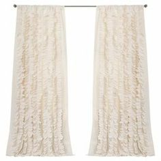 """Add a touch of feminine flair to your master suite or guest bedroom with this charming curtain, showcasing rows of handcrafted ruffles in ivory.   Product: CurtainConstruction Material: PolyesterColor: IvoryFeatures: Handcrafted vertical rufflesDimensions: 84"""" H x 54"""" WNote: Curtain rod not included. Image depicts two curtains, but price is for one. Cleaning and Care: Dry clean"""