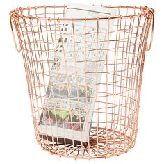 Copper Wire Waste Paper Basket (€33) ❤ liked on Polyvore featuring home, home decor and small item storage