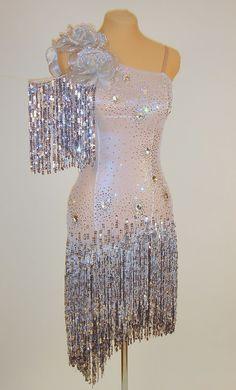 Latin Dress - FOR SALE - Silver Metallic Latin Ballroom Dress (Front) Size 2-6