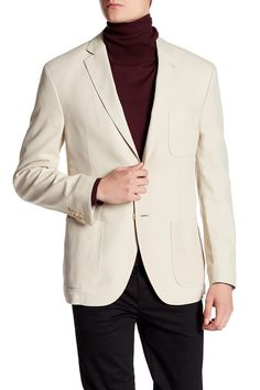 Bond Beige Two Button Notch Lapel Silk Jacket