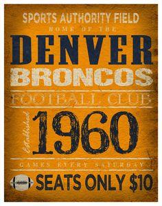 Denver Broncos Print -  11x14  Sports Authority Field Poster