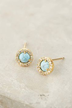 jewelry, earrings, studs, gold, turquoise