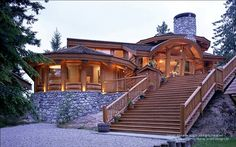 Reposting a round log post and beam log home in British Columbia.  This award-winning home is currently for sale. Serious buyers only can contact me directly.  For more photos or this or any other or my homes, please check out my website, www.designma.com, my Design Page, www.facebook.com/loghomedesign  #loghomes #loghomedesign #loghomeforsale #postandbeam
