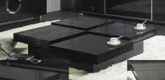 black square coffee table with storage