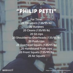 """Philip Petti"" WOD - For Time: 20 Thrusters lb); 20 Sit-Ups; 20 Shoulder-to-Overheads lb); 20 Push-Ups; 20 Handstand Push-Ups; Crossfit Routines, Wods Crossfit, Hero Workouts, Running Workouts, Easy Workouts, At Home Workouts, Workout Names, Wod Workout, Workout Programs"