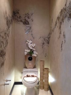 """IDAL - B.R.U.S.H. Awards winner in the category """"Best use of Mica product"""" sponsored by Mica Revolution is Deb Johnson. This beautiful little throne room is treated with a soft Venetian plaster that she embedded with bits of glittering mica  that flow about the space. So elegant!"""
