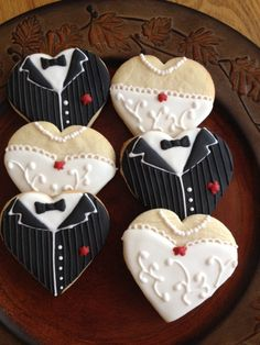 Wedding dress & tuxedo cookie favors by CookiesbyBecky on Etsy, $30.00