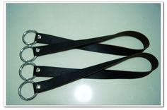 1 Pair of 22 inch black high quality cow leather bag handles purse straps  with round f04d034b40029