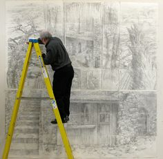 The International School of Painting, Drawing and Sculpture in Umbria, Italy. Barry Nemett , Chair, Painting, Maryland Institute College of Art, standing on a ladder to reach his artwork.