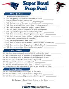 Super Bowl Prop Pool Game
