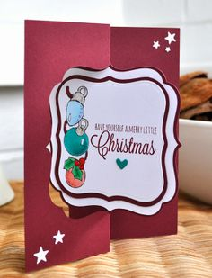 Silhouette Cameo flip card for Christmas. I love the scarlet jewel colours for Christmas.