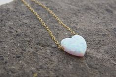 Pretty sure I need this! Heart necklace Gold opal necklace Heart jewelry by RomisJewelry