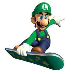 """Super Mario Lugi Skateboard pegatina de vinilo de 18 """""""