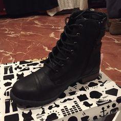 Combat  Booties Combat Booties with Buckles & Zippers. Never been worn Bamboo Shoes Combat & Moto Boots
