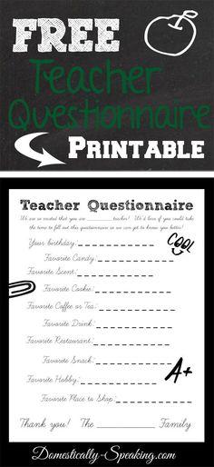Teacher Questionnaire ~ Makes gifts for your teacher SO easy!