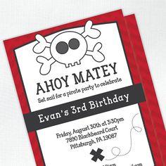Pirate Skull Birthday Invitation by Tickled Peach Studio