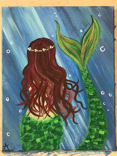 Items similar to Little Mermaid Canvas Painting on Etsy - therezepte sites Mermaid Canvas, Mermaid Art, Tattoo Mermaid, Mermaid Room, Vintage Mermaid, Mermaid Tails, Unicorns And Mermaids, Mermaids And Mermen, Fantasy Mermaids