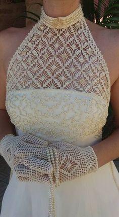 Hermoso rukavchik por el gancho - 1 Irish Crochet, Crochet Lace, Crochet Wedding Dresses, Crochet Halter Tops, Tatting Lace, Crochet Woman, Crochet Slippers, Thread Crochet, Crochet Cardigan
