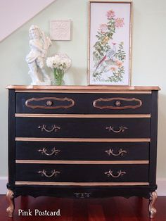 Re-do of an French Provincial dresser. So Pretty! By Pink Postcard Blog.