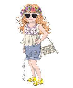 Children's Fashion Illustration Print by MichelleBaronStudio, $15.00