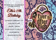 ever after high party printables