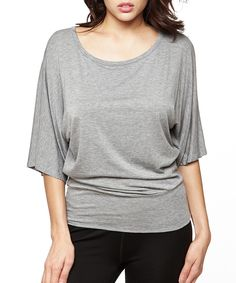 Love this 42POPS Heather Gray Wide-Sleeve Scoop Neck Top by 42POPS on #zulily! #zulilyfinds