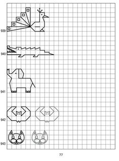simple shapes on graph paper 77 - peacock, alligator, elephant, bat, cat face Graph Paper Drawings, Graph Paper Art, Easy Drawings, Blackwork Patterns, Blackwork Embroidery, Cross Stitch Embroidery, Symmetry Worksheets, Aluminum Foil Art, Drawing Lessons For Kids