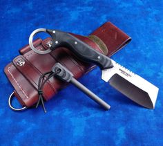 Our Ringed Razel sheath with matching firesteel. Overmountain.us.com