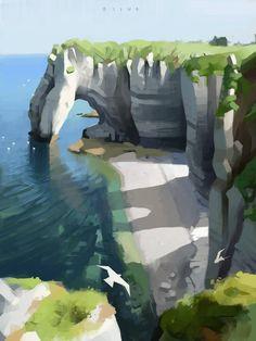 Cliff by the sea illustration landscape art Concept Art Landscape, Landscape Drawings, Fantasy Landscape, Landscape Paintings, 3d Landscape, Environment Painting, Environment Concept, Environment Design, Abstract Illustration